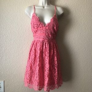 NBD Give It Up Lace Mini Dress M Coral Fit Flare